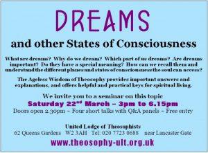 Dreams Seminar ad 22 March 2014