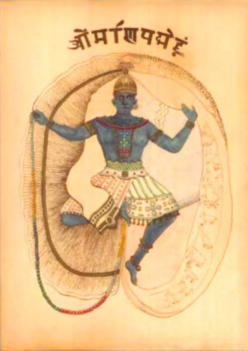 Krishna in the Gita a hand coloured sketch by W Q Judge