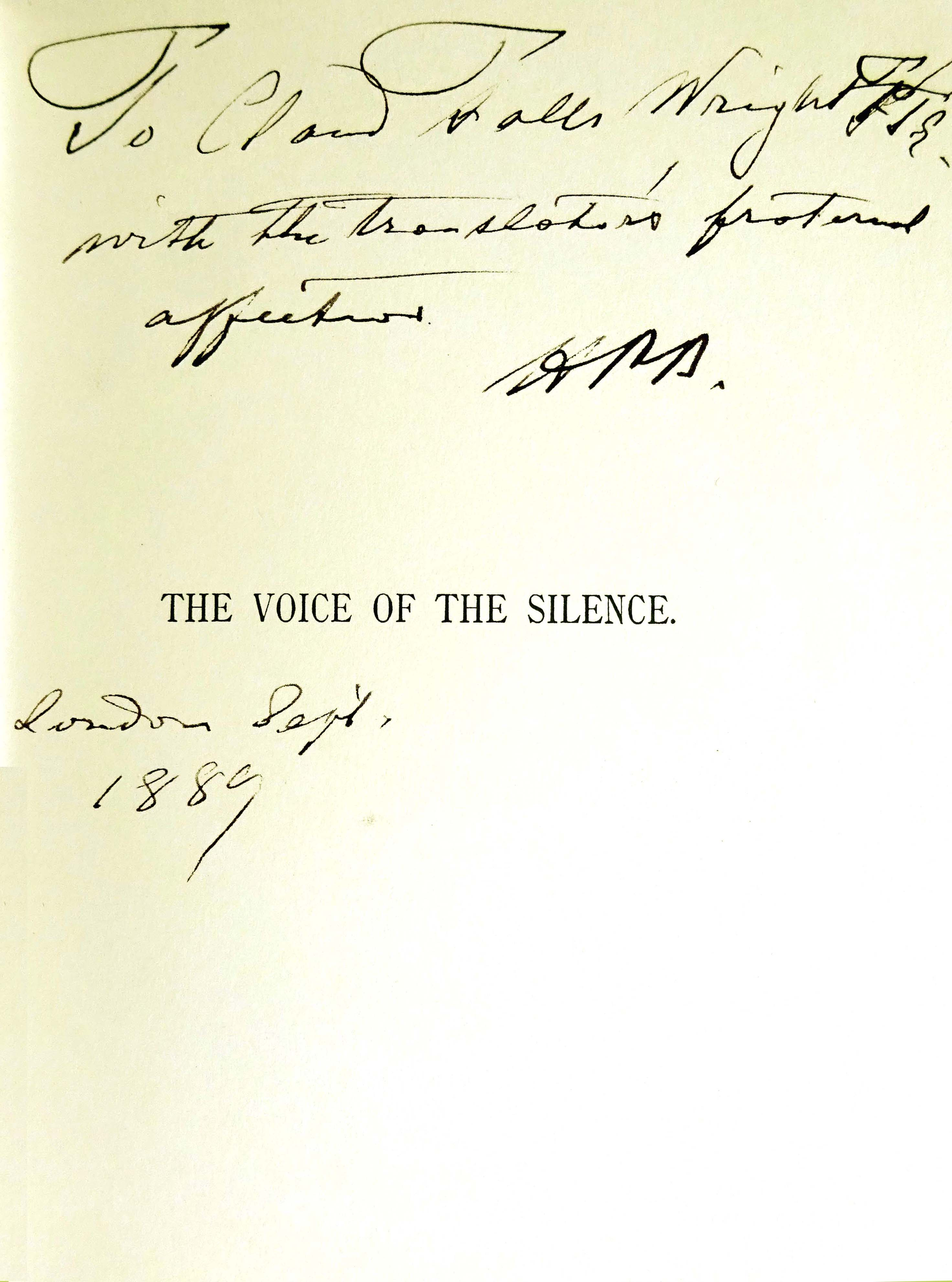Voice of the Silence signed page with annotation