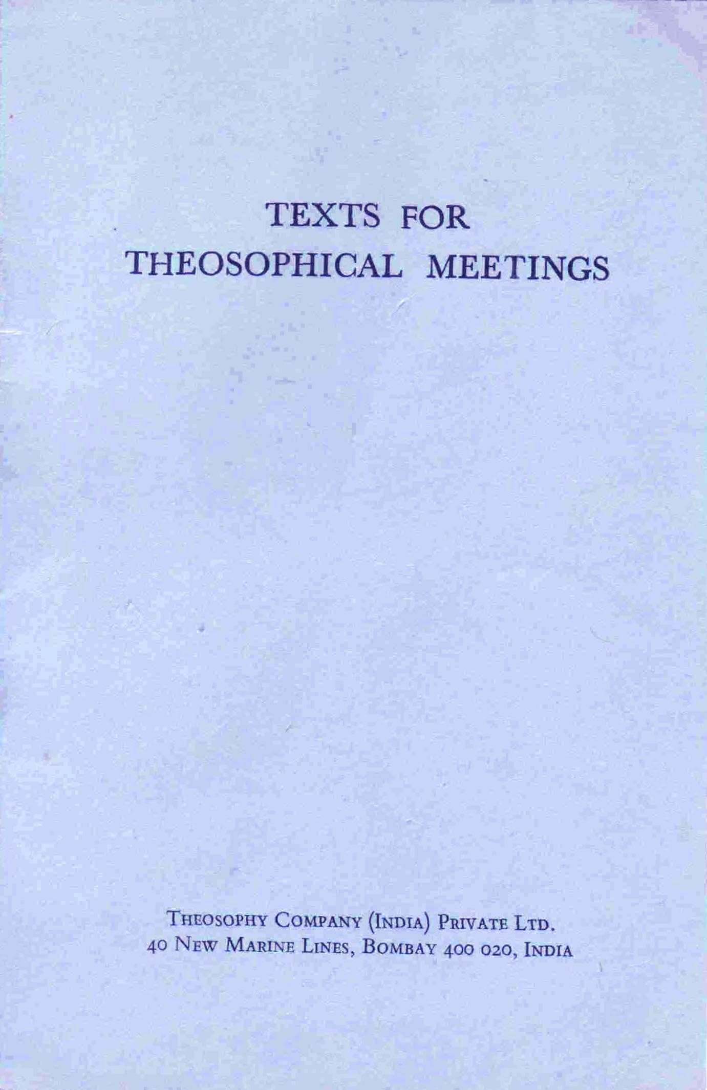 Texts for Theosophical Meetings by ULT