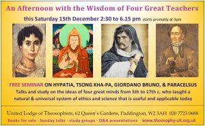 Hypatia Tsong-kha-pa Bruno Paracelsus seminar ad details